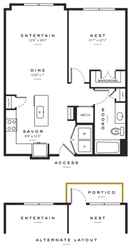 Alexan Maple One Bedroom Floor Plans A3