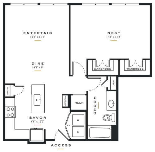 Alexan Maple One Bedroom Floor Plans A6