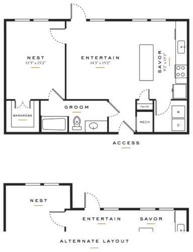 Alexan Maple One Bedroom Floor Plans L1