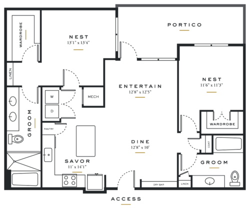Alexan Maple Two Bedrooms Floor Plans B3